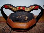 Asian Oriental Lid Painted Lacquer Wicker Handle Basket Incised