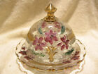 Vintage Hand Painted Floral Glass Lidded Butter Plate Cheese Keeper