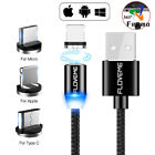 Braided Magnetic Lightning+USB+Type-C Charger Charging Cable For iPhone Samsung