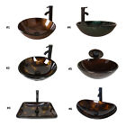 Option Arc Bathroom Tempered Glass Vessel Sink w ORB Faucet Pop up Drain Combo
