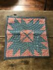 Early Antique Red Blue Calico Star Quilt Mat Pillow Case Large Textile AAFA