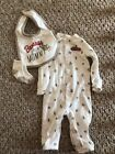Carters Baby Boy Monkey Pajamas Bib Socks Size 3 Months