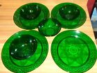 8 Pc Vintage Emerald Green Dinner Plates Salad/Soup Bowls Diamond/Flower Design
