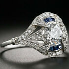 1.52 Ct Off White Vintage Moissanite Engagement Wedding 925 Sterling Silver Ring