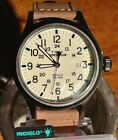 Timex T49963, Men's Expedition Scout Brown Leather Watch, Date, Indiglo, 4