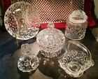 EAPG Moon  Stars Clear Glass LG Wright LE Smith Adams Co 5 Piece Lot