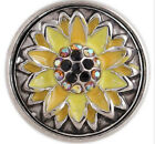 Silver Yellow Opal Rhinestone Flower 20mm Snap Charm For Ginger Snaps Jewelry