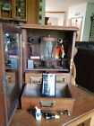Vintage 1940s Pipe Cabinet Oak Glass Front Case Display with alot of extras
