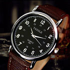 Fashion Casual Quartz Wrist Watch for Men Black with Brown Band