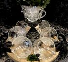 Vintage Anchor Hocking Clear Punch Replacement CUPS Grape Vines (10) MINT!
