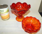 L. E. Smith Moon and Star Amberina Compote and Small Footed  Dish