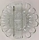 L. E. Smith Deviled Egg and Relish Plate Diamond Point Pattern Clear 10 3/4