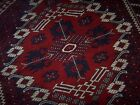 Vintage Persian Tribal Knotted Wool Area Throw Rug Braided Fringe Red Navy Ivory