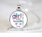 Girl Can Beach PENDANT NECKLACE Chain Glass Tibet Silver Jewellery