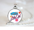 Daddys Little Girl PENDANT NECKLACE Chain Glass Tibet Silver Jewellery