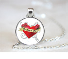 Daddys Girl Heart PENDANT NECKLACE Chain Glass Tibet Silver Jewellery