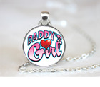 Daddys Girl PENDANT NECKLACE Chain Glass Tibet Silver Jewellery