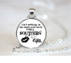 Like A Southern Girl PENDANT NECKLACE Chain Glass Tibet Silver Jewellery