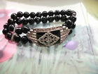 Art Deco Style Black Facetted Glass Beads with Silvet tone & Crystal Bracelet