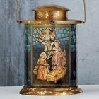 115 LED FONTANINI LANTERN 	NATIVITY W GOLD LEAF FINISH Christmas