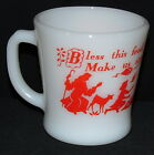 Fire King CHILD'S PRAYER LIGHT RED *BLESS THIS FOOD O' LORD *D'HANDLED MUG*OWFK*