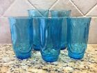 Lot of 5 Anchor Hocking COLONIAL TULIP Drape Laser Blue Glasses Tumblers