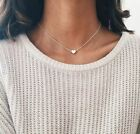 Silver or Gold Heart Choker Chain Pendant Necklace Women Jewelry