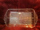Antique HOBNAIL Clear Glass Divided Rectangular, handled, Relish or Candy Dish