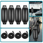4pcs Ribbed Boat Fender 85x27Inflatable Center Hole Bumper Mooring Protection