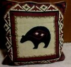Handmade native american 17 X 16 Leather Back and wool front BEAR PILLOW