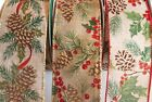 5 Yards Burlap Pine Cone 2 1 2 Wired Ribbon Christmas Fall Berries 5 yds