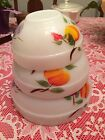 Peaches Nesting Mixing Bowls Oven Ware 50' 60's