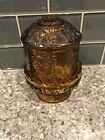 AMBER Depression Glass Large Fairy Lamp Candle Holder Stars and Bars