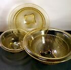 Vintage Ribbed Footed Nesting Bowls Amber Yellow Mixing Glass Set of 3