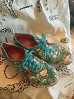 VANS off the wall Aqua Blue Hello Kitty Canvas Skater Sneakers Shoes Womens 8