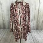 BCBG MAX AZRIA Mauve Python Print Button Down Sheer Shirt Long Sleeve Medium M