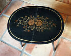SALE Vintage L HITCHCOCK Black Stenciled Small Folding Oval Accent Table