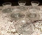 11 PIECES-5 VINTAGE GLASS SHERBET DISHES AND 6 DESSERT OR UNDER PLATES