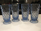 Vintage Indiana Glass Colony Whitehall (4) Light Blue Footed Tumblers