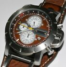 New Men's Fossil JR1157 Brown Leather Strap Brown Analog Dial Chronograph Watch!