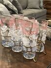 Mid Century Drinking Glass  Set With Caddy