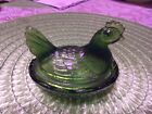 Vintage Indiana glass hen on nest avarcado green in good condition