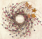 Americana Primitive Pip Twig Rusty Stars Wreath Country Home Decor America