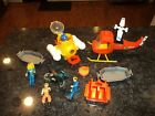 Vintage Fisher Price Adventure People Lot Helicopter Submarine Dirt Bike People