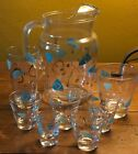 1950's Federal Lot of Amoeba Atomic Turquoise Glasses, Pitcher