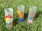 3 Vintage Tall Frosted Painted Fruit Federal Tom Collins Drink Iced Tea Glasses