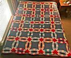 VINTAGE ANTIQUE QUILT Double Wedding Rings Hand-Sewn 66