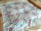 Pretty Art Deco hand embroidery Cross stitch flowers linen Tablecloth 39