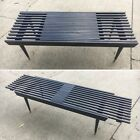 Vtg Mid Century Black Slat Bench Coffee Table Expanding