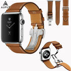 Leder Armband Faltschließe Single Tour Für Apple Watch Series 5/4/3/2/1 40/44mm